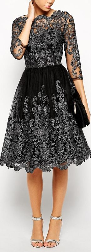 Chi Chi London Premium Metallic Lace Midi Prom Dress with Bardot Neck - Not sure I would wear this, but I really like this metallic lace dress.