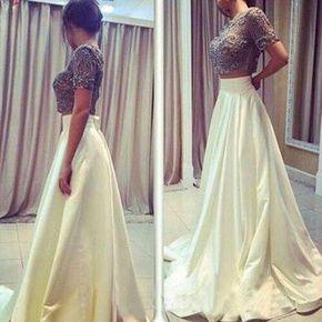 2017 Custom Made Charming Two Piece - 2017 Custom Made Charming Two Pieces Prom Dresses, Beading Prom Dress,Short Sleeves Evening Dress