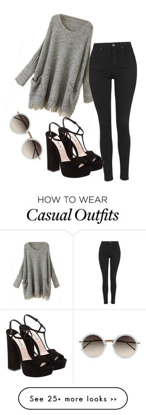 """""""casual #5"""" by wilczek on Polyvore featuring Topshop, Miu Miu and Linda Farrow"""