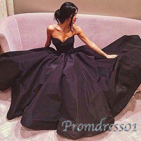 2016 elegant black satin long prom dress, ball gowns wedding dress #coniefox #2016prom