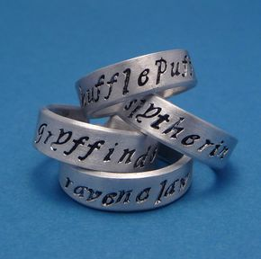 Choose ONE - HP Inspired Hand Stamped Aluminum Ring - Harry Potter Inspired - Choose ONE - Gryffindor, Slytherin, Hufflepuff, and Ravenclaw - A Hand Stamped Aluminum Ring by chasingatstarlight on Etsy https://www.etsy.com/listing/93792656/harry-potter-inspired-choose-one