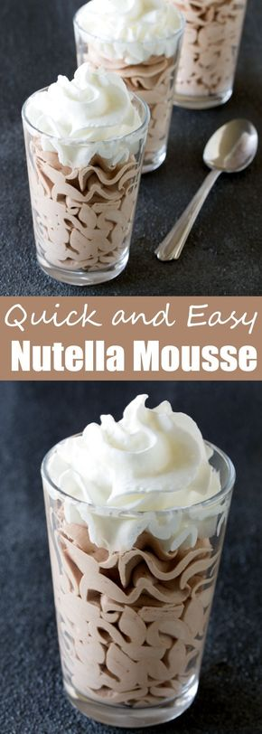Quick and Easy Nutella Mousse - This 3 ingredient dessert will win you over immediately. Nutella Mousse is a quick, easy, and delicious dessert!