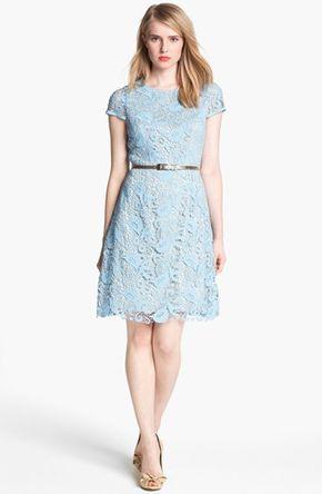 Eliza J Belted Cotton Lace Dress | Nordstrom