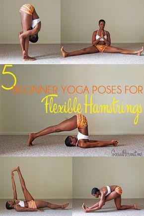 5 Beginner Yoga Poses for Flexible Hamstrings (and a FREE poster - Yoga - 5 Beginner Poses for flexible hamstring. Click through for a FREE poster.