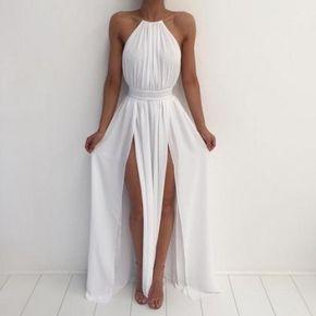 White Long Prom Dresses, A-line Rou - White long prom dress