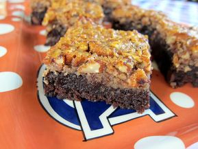 Pecan Pie Brownies - Football Friday - Pecan Pie Brownies - brownies topped with pecan pie filling