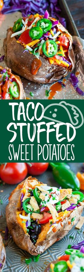 Taco Stuffed Sweet Potatoes - Aiming to eat more veggies? Load up on the good stuff by topping baked sweet potatoes with all your favorite taco ingredients. Bonus points for sneaking veggies into the taco filling too! These Taco Stuffed Sweet Potatoes are naturally gluten free and easily made vegan, vegetarian, or paleo