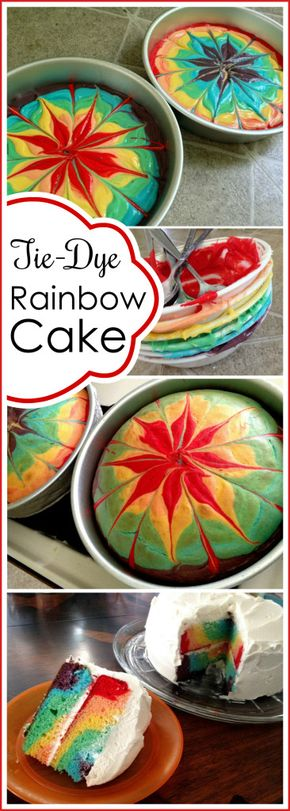 Rainbow Tie-Dye Cake - How to make a rainbow tie-dye swirly cake with a TRUE RED food coloring! {Sawdust and Embryos}