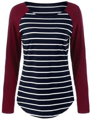 Raglan Sleeve Comfy Striped T-Shirt - Raglan Sleeve Comfy Striped T-Shirt in Stripe   Sammydress.com