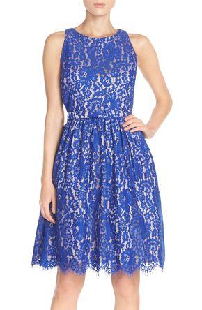 Cutout Back Lace Fit & Flare Dress (Regular & Petite) - Pinterest @ Schneider24