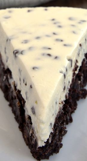 Chocolate Chip Cheesecake with Brownie Crust - Chocolate Chip Cheesecake with Brownie Crust ~ delicious two-in-one dessert!