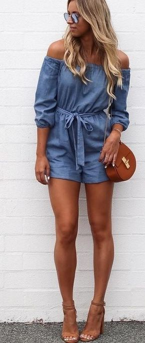 40 Trending Summer Outfits From Australian Fashion Blogger : Agatha - 2/2 - Chambray Playsuit                                                                             Source