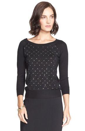 Women's St. John Collection Sequin Lattice Jersey Sweater -