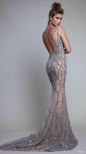 Berta Fall 2017 Ready-to-Wear Collection - berta rtw fall 2017 (17 10) sleeveless illusion bateau neck beaded trumpet evening dresses bv