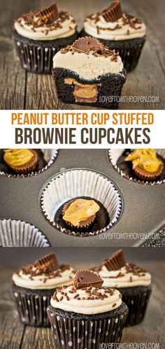 Peanut Butter Cup Stuffed Brownie Cupcakes With Peanut Butter Buttercream Frosting - Peanut Butter Cup Stuffed Brownie Cupcakes. What a delicious way to use up Reese's Peanut Butter Cups!