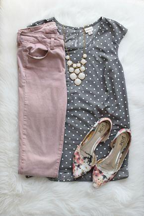 Grey and blush and polka dots  www.pearlsandsportsbras.com 