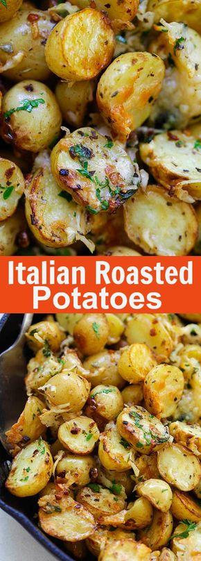 Italian Roasted Potatoes - Italian Roasted Potatoes - buttery, cheesy oven-roasted potatoes with Italian seasoning, garlic, paprika and Parmesan cheese. So delicious | rasamalaysia.com