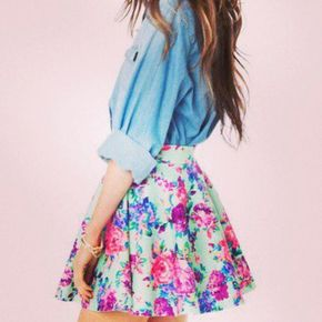 Skirt: mini floral floral summer outfits blouse girly teenager skater mint green pink floral skater