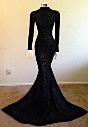 Long Sleeves Mermaid Sequined Lace - Long Sleeves Mermaid Sequined Lace Prom Dresses High Neck Floor Length Party…