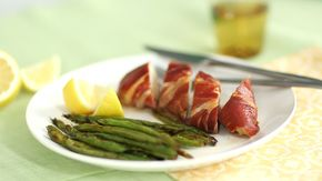 Prosciutto-Wrapped Chicken Breast with Roasted Green Beans - Sarah Carey makes the perfect meal for one and it's all made in the broiler, this flavorful Prosciutto Wrapped Chicken Breast with Roasted Green Beans cooks in just 20 minutes.