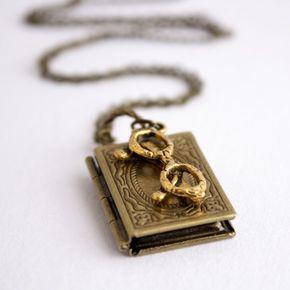 Book Locket Necklace Antique Brass - Book Worm - book lover