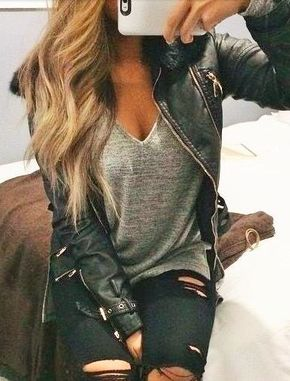 Short Sleeve V-Neck Tee - grey + leather + black