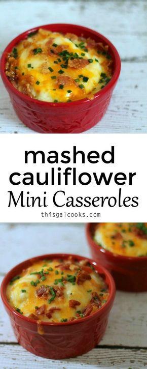 Mashed Cauliflower Mini Casseroles - Low carb alternative to mashed potatoes - Low Carb Mashed Cauliflower Mini Casseroles