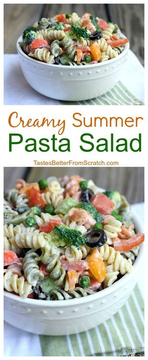 Creamy Summer Pasta Salad - Creamy Summer Pasta Salad on TastesBetterFromScratch.com--my favorite healthy side dish made with Greek yogurt! #HiddenValley #HiddenValleyGreek #ad