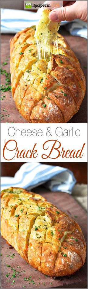 Cheese and Garlic Crack Bread (Pull Apart Bread) - Cheese and Garlic Crack Bread - It's the BEST garlic bread you'll ever have!