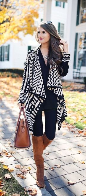 40+ Classic and Modern Fall Street Style Ideas To Try Right Now - Aztec cardigan cute fall outfit