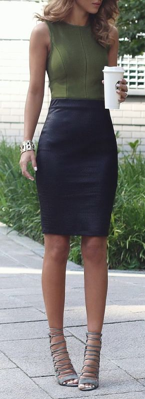 Fashion Trends Daily - 30 Great Outfits On The Street (Fall) 2015 - Khaki Top - My Bandage Dress