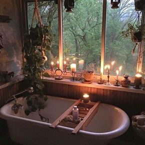 beas-little-boho-corner - I can do without all the clutter and the hanging plant, but the old tub with picture window looking out into the woods calls to me.