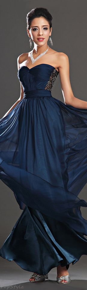 Navy Blue Evening Gown | The House of Beccaria~