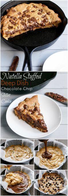 Nutella Stuffed Deep Dish Chocolate Chip Skillet Cookie (Pizookie) - Nutella Stuffed Deep Dish Chocolate Chip Skillet Cookie | http://cafedelites.com