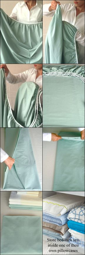 How to Fold a Fitted Sheet -- and Keep an Organized Linen Closet - Folding a Fitted Sheet. Looks nice and neat when you are storing extras, prepping for guests, or moving!