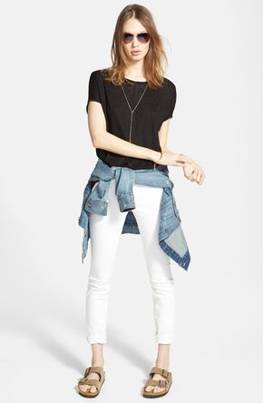 High Rise Skinny Jeans (Pure White) - White denim is a must for spring.