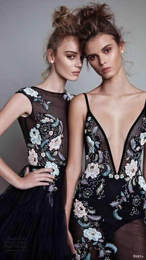 Berta Fall 2017 Ready-to-Wear Collection - berta rtw fall 2017 (17 25 and 17 22) embroidered beaded black evening dresses