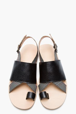 Black Leather Arsella Sandals - MAISON MARTIN MARGIELA Black glenplaid Printed Calfskin sandals