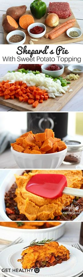 Shepherd's Pie with Sweet Potato Topping - This mouthwatering shepard's pie with sweet potato topping is whole 30 friendly, gluten-free and dairy-free!