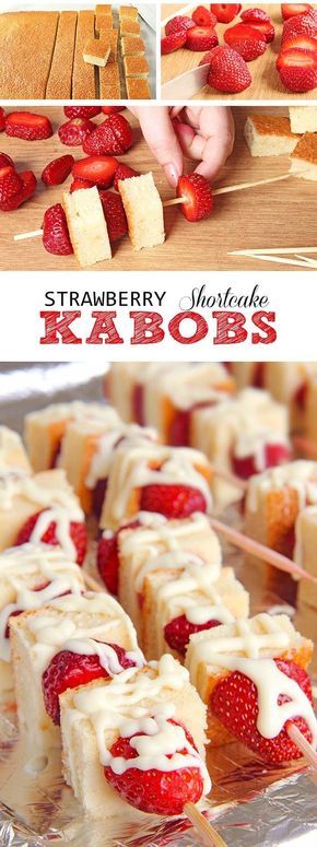 Strawberry Shortcake Kabobs - This strawberry Shortcake kabobs are your ticket to becoming a backyard-barbecue legend, perfect for 4th of July any other time you get the hankering to stick shortcake cubes and fruit on a skewer, drizzle with white chocolate and eat yourself sick.