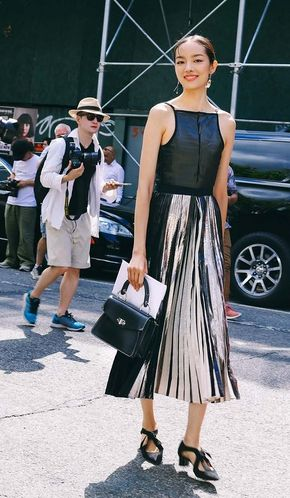 Best Street Style Photos From New York Fashion Week: Spring 2017 Shows - Fei Fei Sun in a full Proenza Schouler look. On the street at New York Fashion Week. Photographed by Phil Oh.