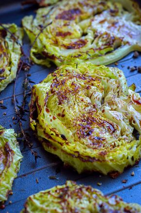 Balsamic, Honey Roasted Cabbage Steaks - Roasted Cabbage Steaks recipe
