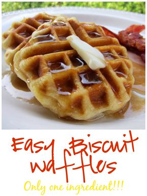 Easy Biscuit Waffles - Easy Biscuit Waffles Recipe - only one ingredient! Perfect for a quick breakfast during the week.