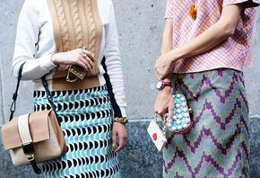 Skirts and prints and bags.