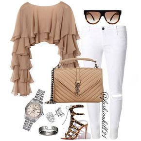 Ruffled Up And Ready To Go DETAILS: Top #Balmain  Frames #Celine  Jeans #Dorothyperkins  Purse #Saintlaurent  Shoes #Christianlouboutin  Ring #Cartier  Watch #Rolex  #Styledbyfashionkill21