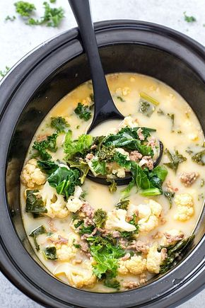 Slow Cooker Low Carb Zuppa Toscana Soup (Keto-Friendly) - Slow Cooker Low Carb Zuppa Toscana Soup - Skip the trip to your local restaurant and make a batch of this insanely delicious copycat soup! It's healthy, it's delicious, and it's made low carb! Perfect for a low carb and keto-friendly lifestyle!
