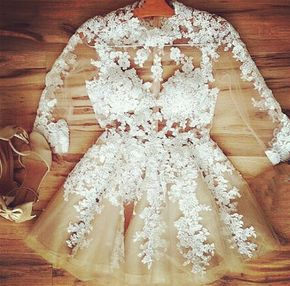 Sexy Prom Dress, Cute Lace Appliqu - Sexy Prom Dress, Cute Lace Applique Champagne