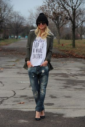 Zorannah's fashion corner: Bum! This is the best outfit I've ever seen! Boyfriends jeans paired with a casual T-shirt, militery jacket and a beanie. This looks great with these spiked loubs but for a day outfit you could pair it with black converse... or meybe red! :D #cool #top #love