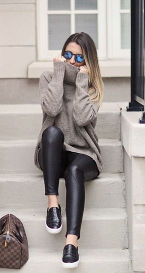 100 Winter Outfit Ideas to Try Now - #winter #fashion / turtleneck knit + leather