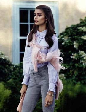 Taylor Hill is 'High Class' in Ladylike Editorial for Vogue Spain - The model embraces pastels with a blouse and cardigan tied around her shoulders
